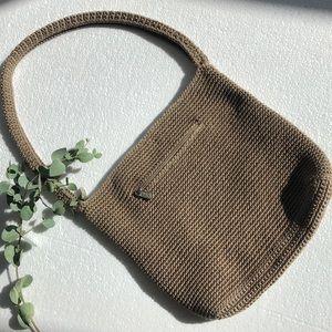 💛The Sak Top Zip Crochet Tan Brown Shoulder Bag Purse Tote